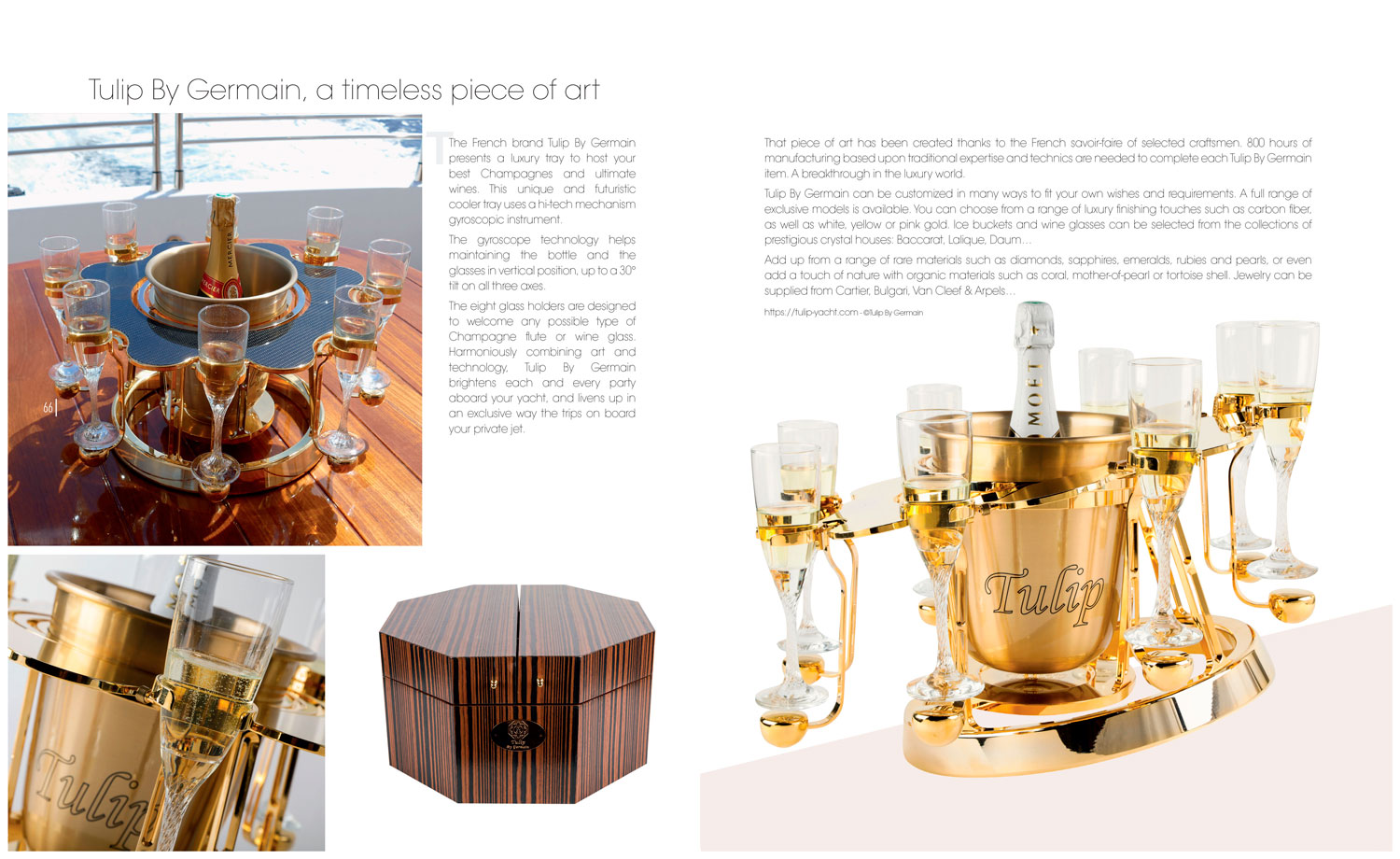 Luxury magazine article Tulip Luxury champagne bucket