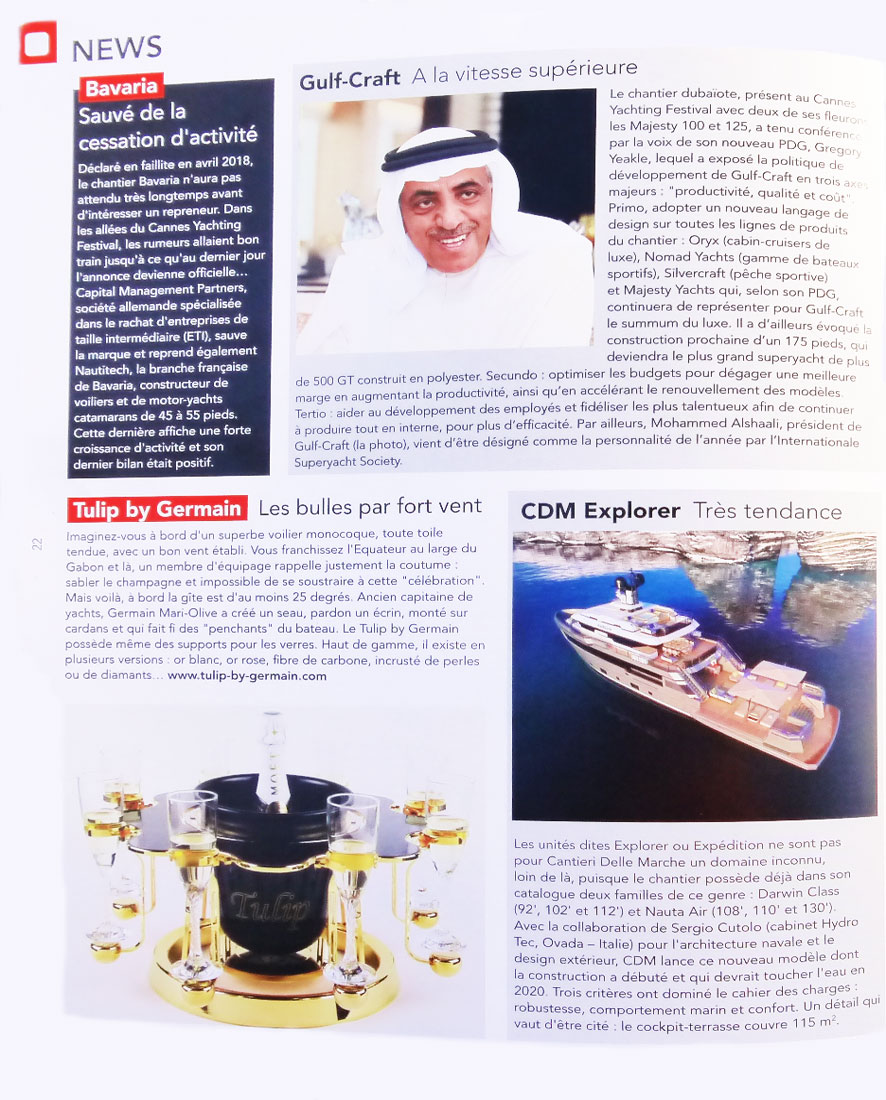 Yacht Class magazine article Luxury champagne bucket