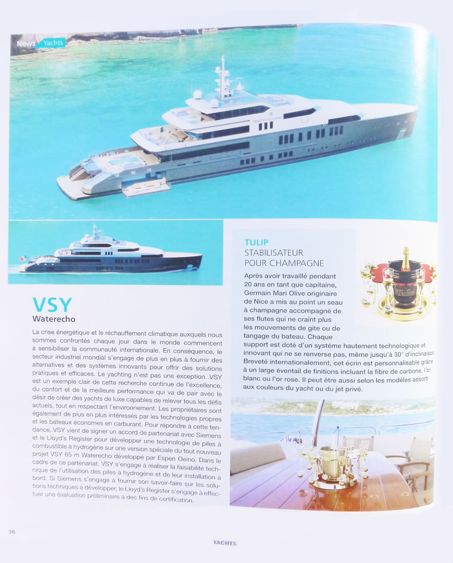Article magazine Yachts France seau champagne luxe